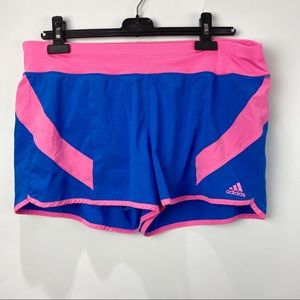 Adidas blue and pink athletic shorts